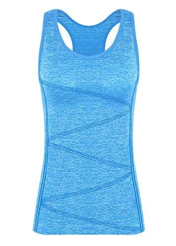 Disbest Damen Sport Tanktop, Sport Fitness Running Tops pro ärmellos Quick Dry Training Tank Tops(Power blau 40)