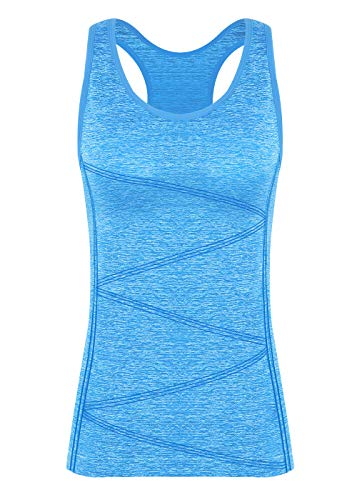 Disbest Damen Sport Tanktop, Sport Fitness Running Tops pro ärmellos Quick Dry Training Tank Tops(Power blau 40)