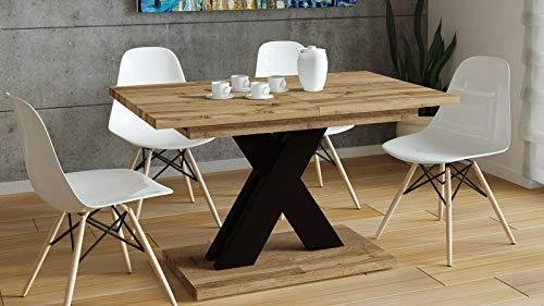 Endo-Moebel Esstisch Küchentisch Säulentisch modern erweiterbar 130cm - 170cm Esszimmertisch (Wotan Eiche)