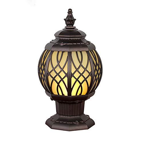TZZ Lámparas de Columna de Aluminio para Exteriores Villa Europea a Prueba de Agua lámpara de Columna de Metal oxidada iluminación Retro jardín Valla de jardín lámpara E27