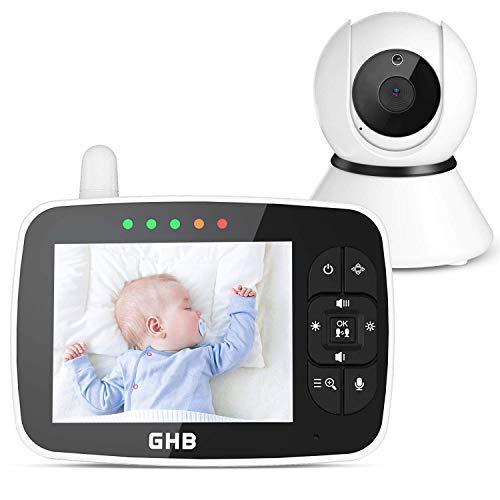 GHB Bébé Moniteur Babyphone Caméra 3,5 Inches LCD Rotation de 350° Supporte 4 Caméras 2,4 GHz Capteur de Température Vision Nocturne