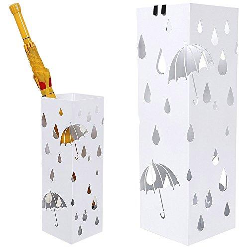 BAKAJI Portaombrelli Stand in Ferro Design Forma Quadrata Colore Bianco Vaschetta Salvagoccia e Ganci per Ombrelli Pieghevoli - 49 x 15 x 15 cm