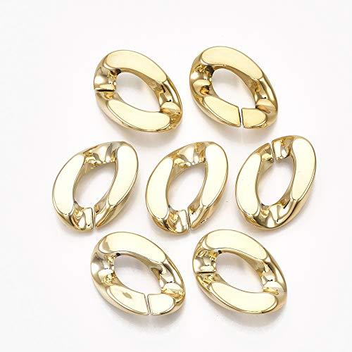 Stiesy 500 anelli di collegamento in plastica ABS con placcatura UV dorata, connettori rapidi per catene dorate per la realizzazione di cinturini per telefono