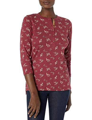Chaps Women's 3/4 Sleeve Crewneck Henley Shirt, Ruby/Grey, XL