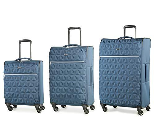 Rock Jewel 3 Piece Set (55/70/80cm) Soft Sided Suitcase Four Wheel Travel Luggage Blue