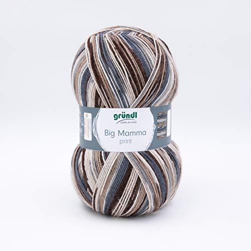 Gründl 2612-45 Big Mamma print Wolle, Acryl, Graphit-grau-beige-kamel-teddy-weiß, 30 x 17 x 14 cm