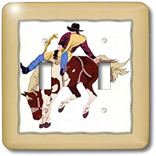 3dRose lsp_38935_2 Cowboy On Bucking Bronco With Rope Frame Double Toggle Switch