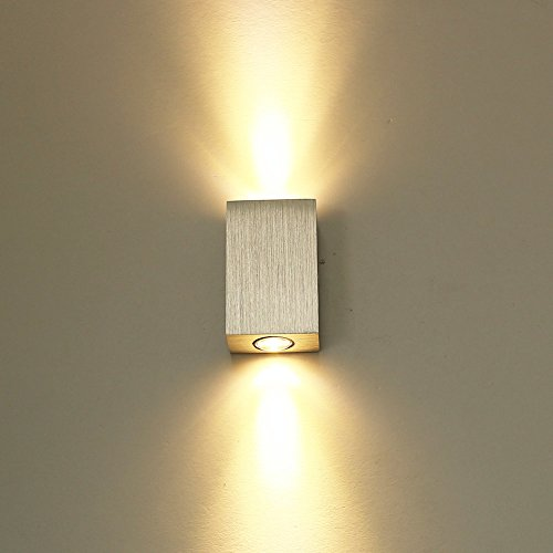 ETiME LED Wandleuchte innen Wandlampe Flurlampe Treppenleuchten Deckenleuchte up down effekt 6W (6W Warmweiss)