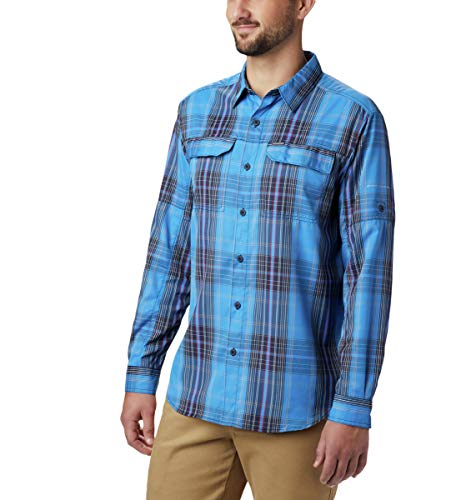 Columbia Camisa de Manga Larga a Cuadros Silver Ridge™ 2.0 para Hombre Silver Ridge™ 2.0 Plaid L/S Shirt, Azure - Cuadros Grandes, 1X