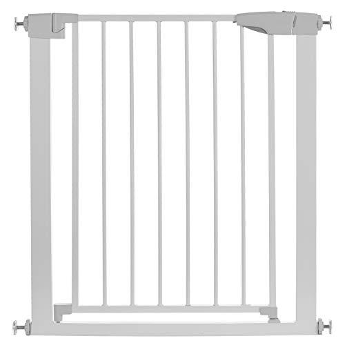 Sararoom Valla de la puerta, Easy Close Metal Barrera de seguridad metalica para puertas y escaleras, puerta de seguridad 75 cm hasta 82 cm, barrera escalera bebé, niños y perros, Blanco