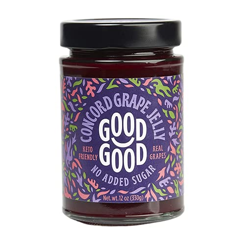 Concord Grape Jelly by Good Good - 12 oz / 330 g - Keto Friendly No Added Sugar Concord Grape Jelly - Keto - Vegan - Gluten Free - Diabetic (Concord Grape)