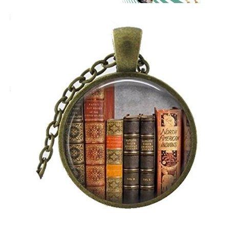 Bibliothek Buch Halskette, Glas Dome Art Halskette, mit Ball Kette enthalten Halskette Einzigartige Halskette Individuelle Geschenk Everyday Geschenk Halskette