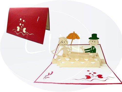 Lin de Pop up Cartes de mariage mariage cartes, invitations, cartes 3D Valentin Cartes cartes de vœux Cartes Félicitations Mariage, couple de mariés en bateau