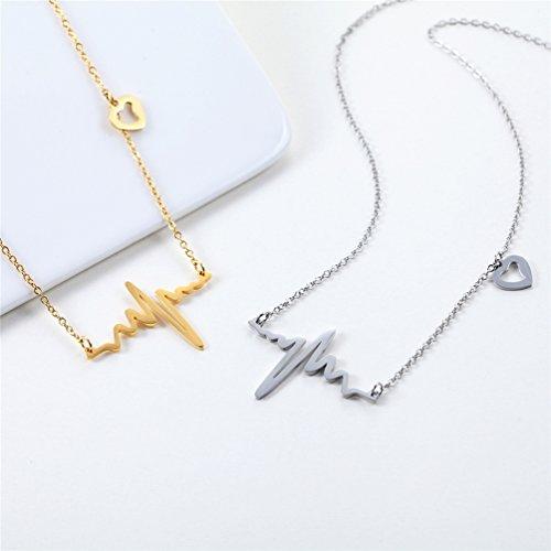 Collier Battement de coeur tour de cou pour femmes bijoux délicats en acier inoxydable 316L plaqué or ECG - 4