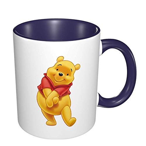 Hdadwy Linda taza de café de Winnie the pooh, tazas de cerámica, taza de té para mujeres, hombres, niños, niñas, azul marino