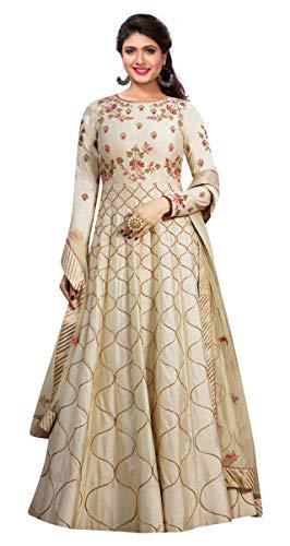 RE Enterprise Women's Beige Color Long Latest Silk Embroidered Anarkali semistitch Gown for Women