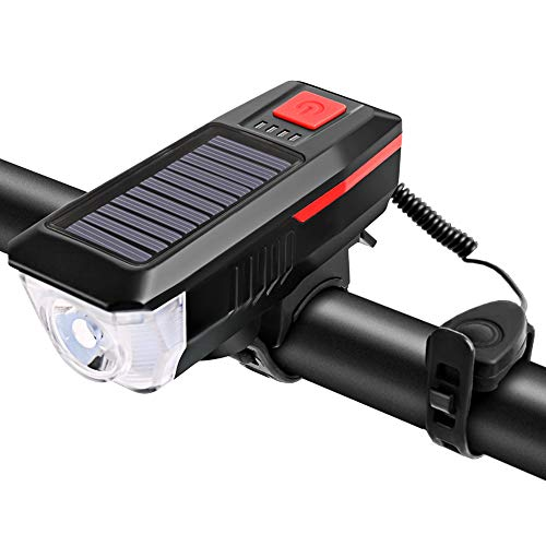 Sunbaca Luz solar/USB de carregamento para bicicleta Lâmpada de sino de bicicleta para bicicleta Lanterna de bicicleta Luz frontal de bicicleta USB/Solar recarregável recarregável à prova d'água