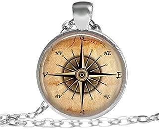 el Collar de Compass Br/újula Regalo para Hombre de Las Mujeres Pendientes de la Vendimia con Lazo HLGQ Delicado Colgante del Metal del comp/ás Pocket Compass
