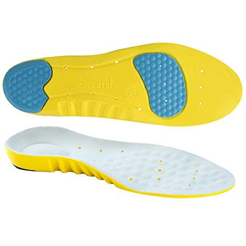 Soumit Solette Ultra Soffice Antiurto per Sport S (EU 34-37), Soletta Comfort Traspirante con Sostegno Dell'Arco Plantare, Eccellente Assorbimento Degli Impatti per Correre Jogging
