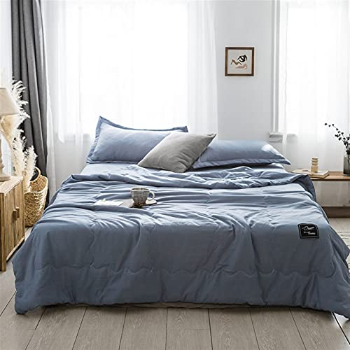 YYGQING Edredón de algodón fino para verano con estilo de verano, cómodo, suave, doble aire, viaje, sofá cama, edredón de verano fresco (color: azul, tamaño: RU individual (200 x 230 cm)