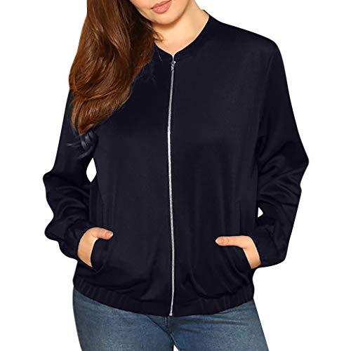 Winter Herbst Oversize Schöne Jacke Damen Mantel mit Zip,Kurzmantel Frauen Große Größe Parka mit Pocket Tops Overcoat Outwear Bomberjacke URIBAKY
