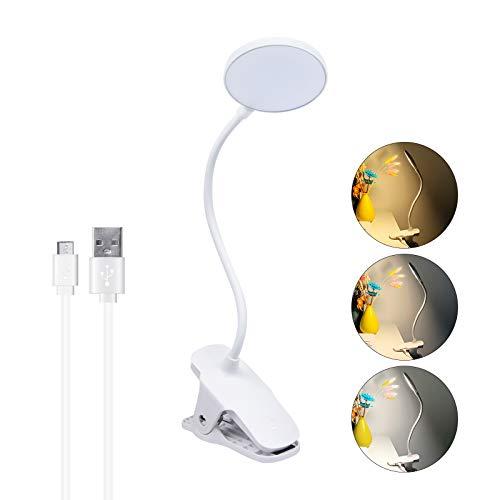 DoRight 5W USB LED Lámpara de Escritorio Luz de Clip 3 Color 3 Brillo Protección de Los Ojos Luz Para la Lectura Touch Control Lámpara de Mesilla de Noche Abrazadera con Cuello Flexible Luz del Libro