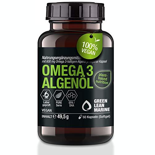 GREEN LEAN MARINE® Algenöl Omega 3 Vegan Kapseln aus der Mikroalge   60 Omega 3 Vegan Kapseln mit EPA und DHA hochdosiert   essentielle Omega 3 Fettsäuren   Omega 3 Vegan hochdosiert   DHA EPA Vegan