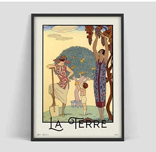 George Barbier La Terre Vintage Art Prints Art Nouveau Poster e imprime...