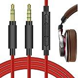 Geekria QuickFit Cable estéreo de 3,5 mm para auriculares ATH-MSR7 ATH-SR5 ATH-AR3BT ATH-AR5BT, Pioneer SE-MS7BT Hdj-700, cable de audio de repuesto con micrófono y control de volumen (rojo 5,6 pies)