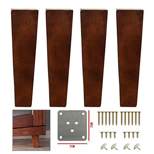 WYFX Möbelbeine 4er Pack Massivholz Möbelbeine, Walnussfarbene Sofabeine, Küchenfüße Schrankbeine, TV Schreibtisch Tischbeine Fußhocker Ersatzbeine, für Couchtisch Dining TA