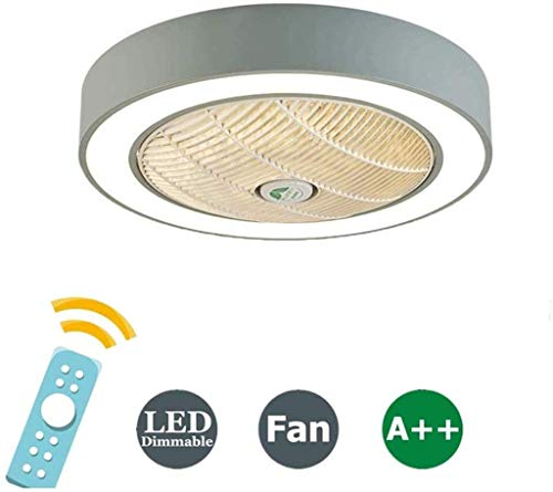 Plafondventilator LED Plafond Ventilator Met Afstandsbediening Verborgen Creative Dimbare Light Rust 3 Speed ​​3 Kleuren Dimbare Plafondlamp Voor House on Sunset Room Child,Gray