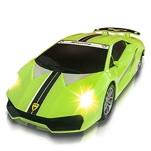 ArtCreativity Green Racer Car with Lights and Sounds, Light-Up Push n Go Racer Car for Kids, LED Headlights and Engine Sound, Best Birthday Gift for Boys, Girls, Toddlers Ages 3+