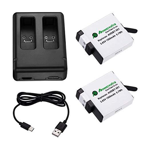 Powerextra Actualizó Batería para GoPro Hero 5 Negro HERO6 Hero 7 y Cargador Doble (Compatible con el Firmware v02.00, v01.57, v01.55 y Futuras Actualizaciones)