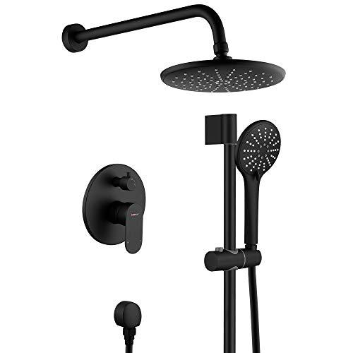 "Shower System, Wall Mounted Slide Bar Shower Faucet Set for Bathroom with High Pressure 8"" Rain Shower head and 3-Setting Handheld Shower Set, Shower Valve with Trim and Diverter,Matte Black"
