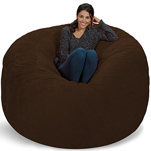 Chill Sack Bean Bag Chair: Giant 6' Memory Foam Furniture Bean Bag - Big Sofa with Soft Micro Fiber Cover, Brown Furry