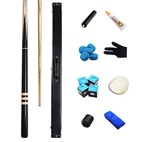 AILILI Billard Queue -Eschenholz Snooker Cue,Leder Qualität Gewicht,9.8 Mm Spitze,3/4 Billard-Queue-Stock,145cm,18oz Billard Set,für Pool, Snooker Und Carambolage