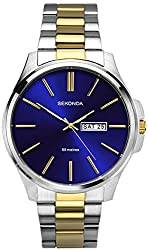 Stainless Steel case Blue Sunray dial with day/date display Two-tone gold plated and stainless steel bracelet Water resistant to 50 metres 2 year guarantee