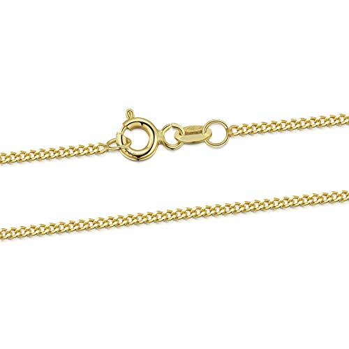 Amberta 9ct Genuine Yellow Gold - 1.4 mm Curb Chain Necklace - Adjustable 18 to 20 inch long