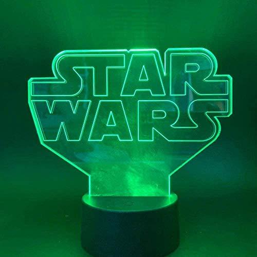 LSDAMN Luz de noche 3D Star Wars Lámpara de ilusión 3D y lámpara de decoración con 7 cambios de color con control remoto para la sala de estar Bar Regalos de Navidad