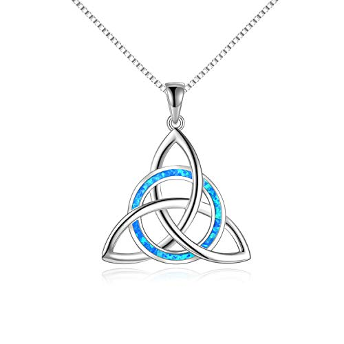 WINICACA Triquetra Celtic Knot Necklace Sterling Sliver Blue Created Opal Pendant Luck Irish Gifts Jewelry For Women Teens Birthday Gifts
