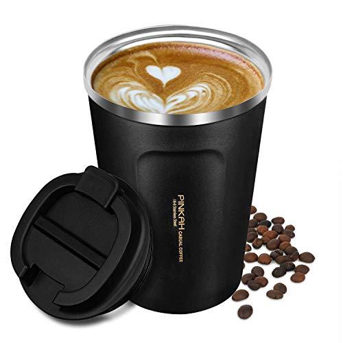 Octerr マグカップ 保温 コーヒーカップ コンビニカップ 携帯マグ 保冷 タンブラー 二重構造 真空断熱 ステンレス製 蓋付き 持ち運び 洗いやすい プレゼントに 380ML ブラック