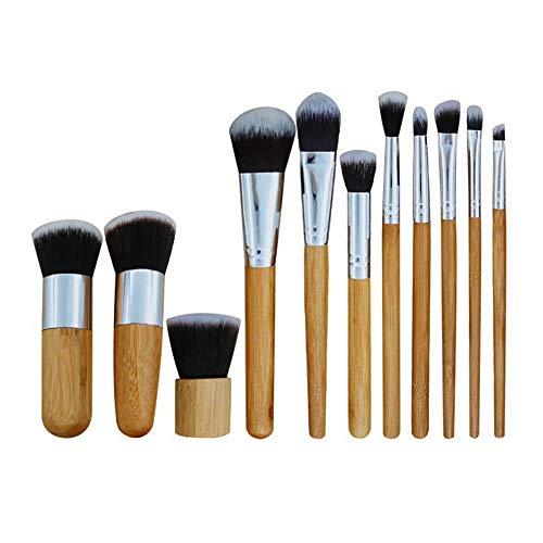 Lot de 11 pinceaux de maquillage professionnels avec manche en bambou