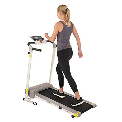 Sunny Health & Fitness SF-T7610 Electric Walking Folding Treadmill with LCD Display and Tablet Holder, 220 LB Max Weight, White