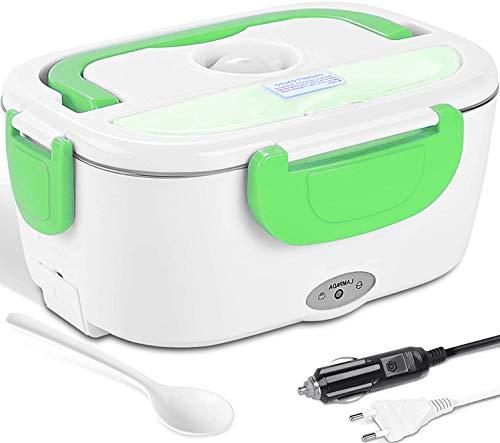 Lunch Box Portavivande Termico, Scaldavivande Elettrico Portatile, Porta Pranzo da Ufficio, Scaldavivande Portapranzo Ufficio, 12 V/220V (verde)
