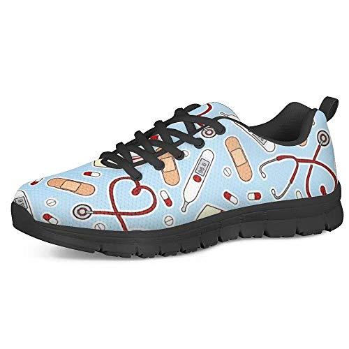 POLERO Nurse Zapatillas para Enfermera patrón para Mujer Hombre Zapatillas Deportivas Ligeras para Correr Gimnasio Zapatillas Zapatos de Ocio 36-45 EU