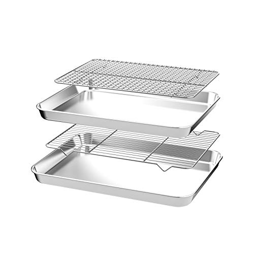 CEKEE Nonstick Steel Bakeware Set with Cooling Rack,4 PCS (2 Pans+2 Racks)Quarter Sheet Baking Pan and Cookie Tray, Non Toxic & Heavy Duty & Easy Clean, Size 12 x 10 x 1 Inch