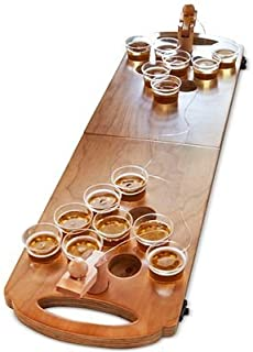Refinery and Co. Wooden Beer Pong Game Luxury Foldable Tabletop Size Boardgame for Party and Hang Out