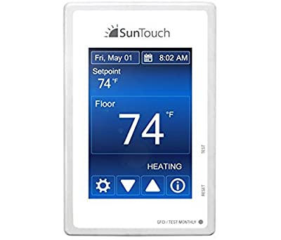 SunTouch Command Touchscreen Programmable Thermostat [universal] Model 500850 (low-profile, user-friendly floor heat control, 120/240V, bright white + paintable beauty ring) includes floor sensor