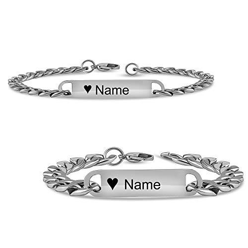 Partnerarmbänder | Pärchen armband mit Gravur | Armband mit Gravur in Silber | Persönliche Namensgravur | Freundschaftsarmband | Partnerarmband (Emoji Herz mit Gravur)