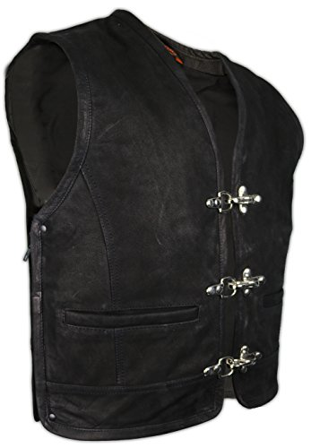 Matt Schwarze Lederweste mit seitlichem Reißverschluss (XL)